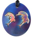 Teslas Adult Oval Double Dolphin Blue Pendant - The pendant has the effect of strengthening the wearers energy field, thus helping to alleviate the bio-energy effects of some man-made EMF/EMR.