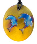 Teslas Adult Double Dolphin Gold Pendant - The pendant has the effect of strengthening the wearers energy field, thus helping to alleviate the bio-energy effects of some man-made EMF/EMR.