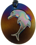 Teslas Teen Single Dolphin Gold/Patterned Pendant - The pendant has the effect of strengthening the wearers energy field, thus helping to alleviate the bio-energy effects of some man-made EMF/EMR.