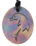 Teslas Teen Single Dolphin Patterned Pendant - The pendant has the effect of strengthening the wearers energy field, thus helping to alleviate the bio-energy effects of some man-made EMF/EMR.
