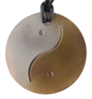 Teslas Adult Yin/Yang Silver/Gold Round Pendant - The pendant has the effect of strengthening the wearers energy field, thus helping to alleviate the bio-energy effects of some man-made EMF/EMR. Oval Pendant - The pendant has the effect of strengthening the wearers energy field, thus helping to alleviate the bio-energy effects of some man-made EMF/EMR