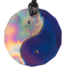 Teslas Adult Yin/Yang Patterned/Blue 14 Sided Pendant - The pendant has the effect of strengthening the wearers energy field, thus helping to alleviate the bio-energy effects of some man-made EMF/EMR. Oval Pendant - The pendant has the effect of strengthening the wearers energy field, thus helping to alleviate the bio-energy effects of some man-made EMF/EMR